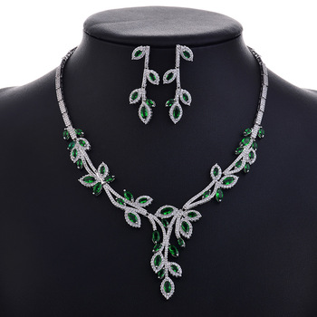 Gift Fahsion Wedding Jewelry Sets For Women Crystal Zircon Silver Color Engagement Earrings Necklaces Set