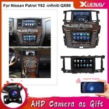 Радио сенсорный Экран для Nissan Patrol Y62 -infiniti QX80 2010-2020 двойной Экран автомобиля радио gps-навигация, dvd-плеер