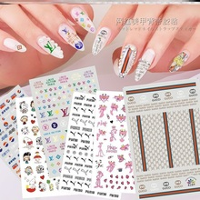 10sheets/lot Nail Water Transfer Sticker Linear Flower Pattern Nail Art Decorations Slider For Nail Manicure Watermark N000 10pcs brand nail stickers linear flower pattern nail art decorations slider for nail manicure adhesive diy decals foil nail art