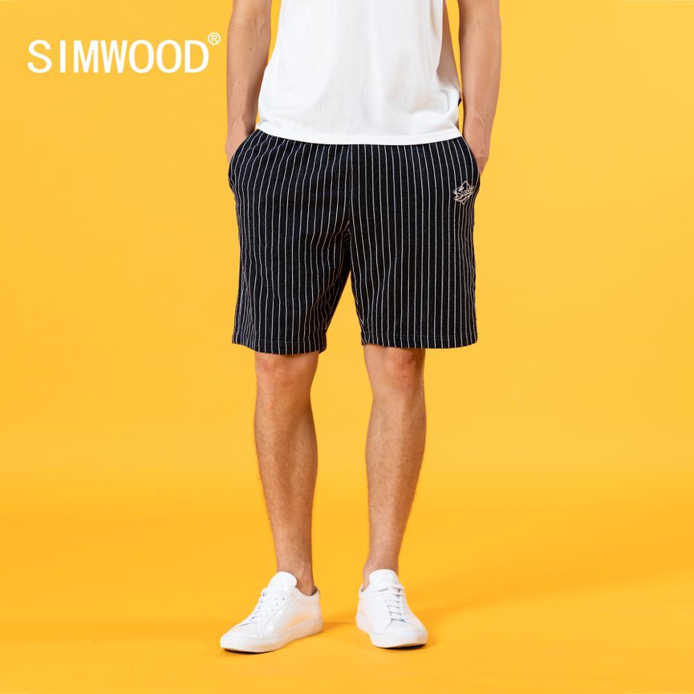 SIMWOOD 2020 Summer New Drawstring Shorts Men 100% Cotton Loose Comfortable Jogger Short Vertical Striped Tracksuits SJ150190