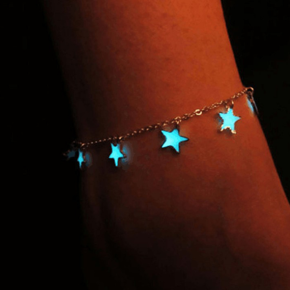 Fashion Girl Elegant Star Heart Bracelet Luminous Silver Adjustable Little Star Ankle Bracelet Anklet Women's Jewelry Gift