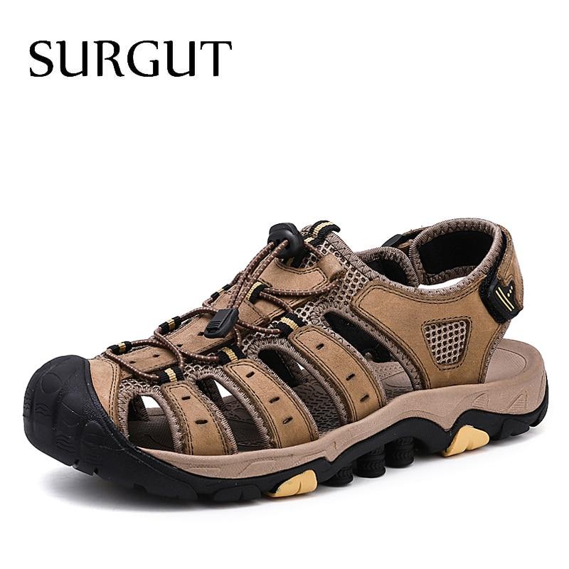 SURGUT 2020 New Male Shoes Genuine Leather Men Sandals Summer Shoes Beach Sandals Men Fashion Outdoor Casual Shoes Size 38~46