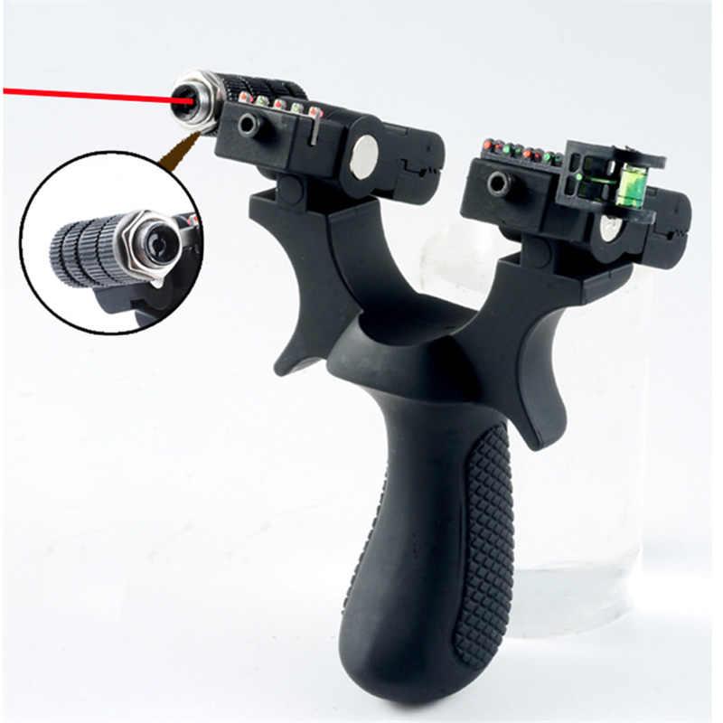 Presisi Tinggi Kolam Menembak Berburu Katapel Laser Bertujuan Resin Katapel Katapel Menggunakan Flat Rubber Band