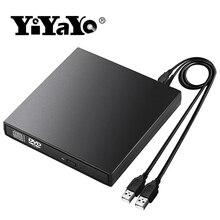YiYaYo Внешний DVD rom Оптический привод USB 2,0 CD/dvd-rom CD-RW плеер горелка тонкий портативный ридер рекордер portátil для ноутбука