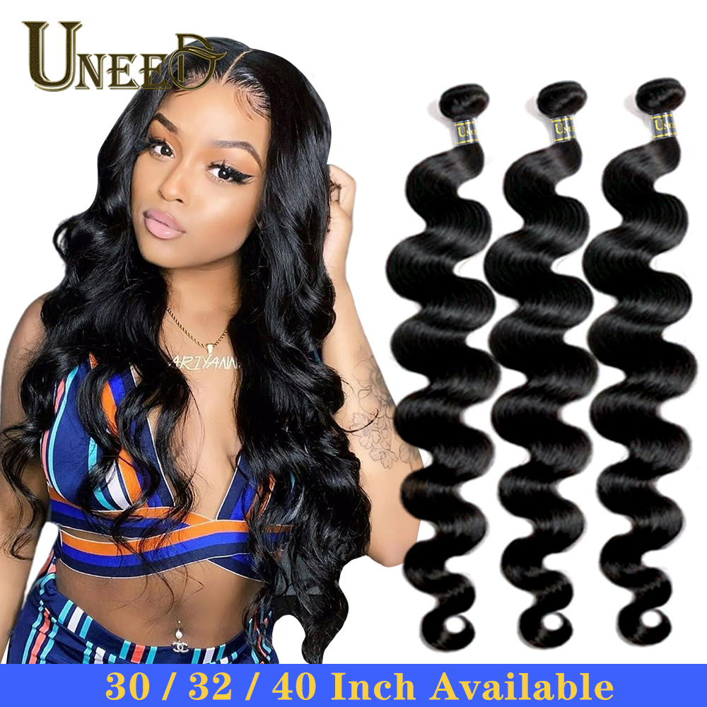 Uneed Weave Bundles Hair-Extensions Human-Hair Body-Wave Natural-Color Brazilian 40inch