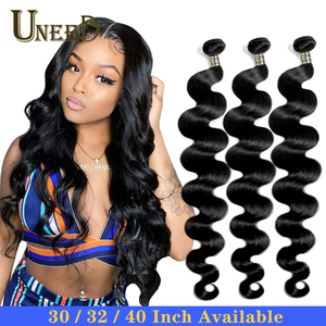 Uneed Brazilian Body Wave Bundles Hair Extensions 100% Remy Human Hair Weave Bundles 30 32 40 Inch Natural Color Buy 1/3/ 4 Pcs(China)