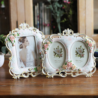 Floral Decorative Photo Frame Rectangle Resin Picture Frame For Table 1 PC Pastoral Foto Frame Best Wedding Gifts Photo Album