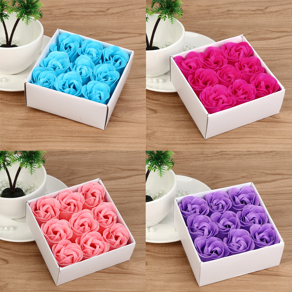 Rose Soap Flower Case 9Pcs Scented Bath Body Petal Rose Flower Soap Romantic Flavor Wedding Decoration Gifts For Luxurious Bath
