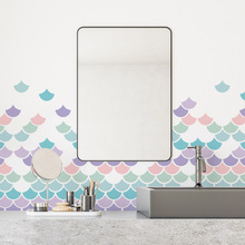 Funlife Colorful Mosaic Wall Decal Sticker,Peel and Stick Waterproof Vinyl For living Room Bathroom Wall Tile Decal Home Decor