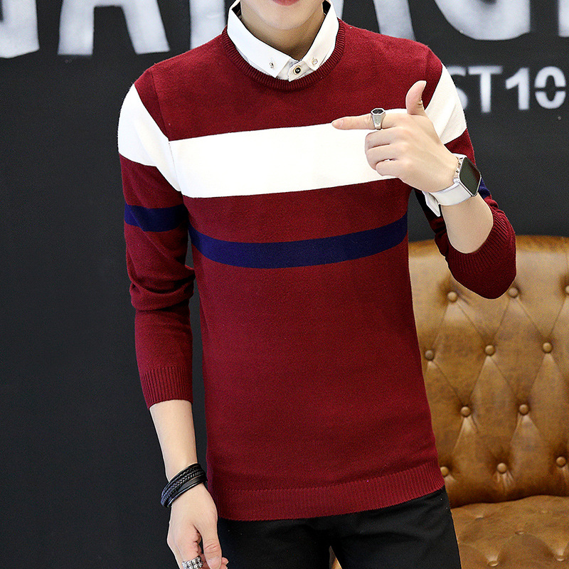 Men Sweater Long Sleeve Black Beige Navy Blue Fake Two Pieces Turn-down Collar Pullovers Casual Mens Sweaters New Fashion