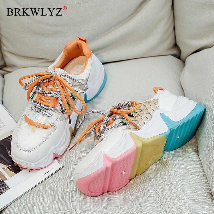 Women Vulcanize Shoes Chunky Sneaker Slip-on Woman Shoes Platform Jelly Walking Shoes Female Flats Sneakers 41 42