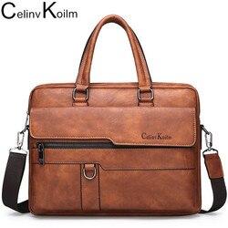 Celinv Koilm hommes porte-documents sac de haute qualité célèbre marque en cuir épaule sacs de messager bureau sac à main 13.3 pouces ordinateur portable