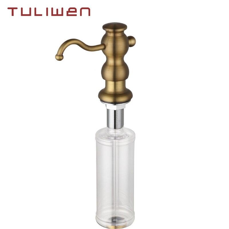 Antique Brass Liquid Soap Dispensers Kitchen Sink Bathroom Basin Hand Soap Dispenser Easy To Fill Kitchen Accessorie