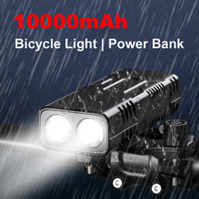 Krachtige 10000Mah Fiets Front Light Kit TYPE-C Oplaadbare Waterdichte Fiets Koplamp Mtb Fietsen Zaklamp Als Power Bank