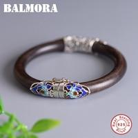 BALMORA 925 Sterling Silver Ethnic Peony Floral Sandalwood Bangles Bracelet for Women Gift Vintage Enameling Jewelry Pulsera