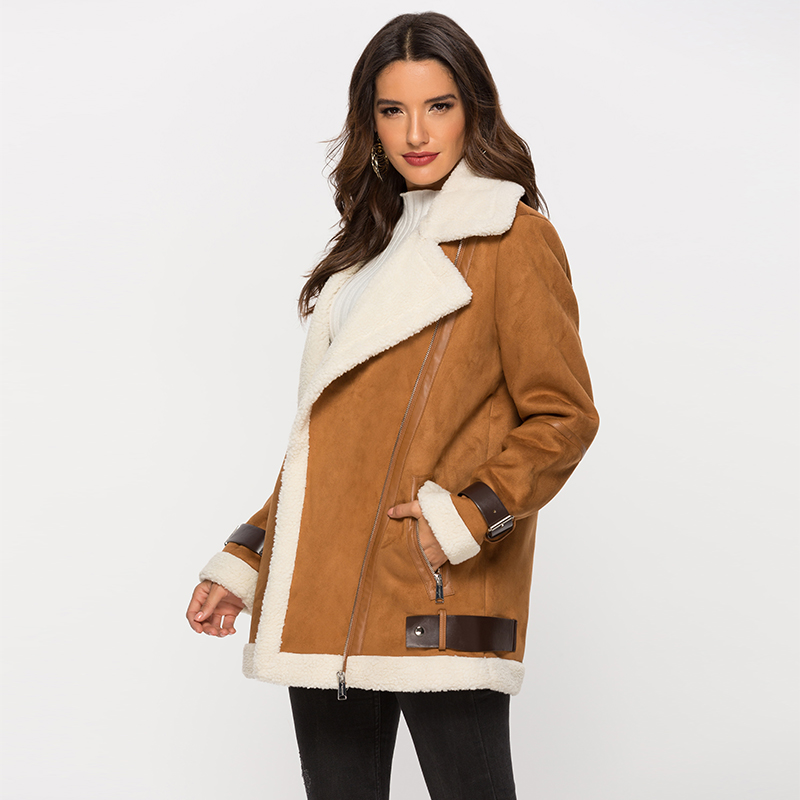 Escalier Women's Winter Lapel Faux   Suede     Leather   Jacket with Sherpa Fleece Lining