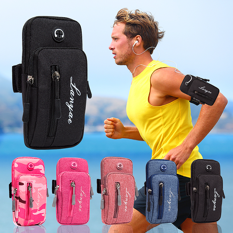 Simple Style Running Men Women Arm Bags For Phone Keys Outdoor Package Bag With Headset Hole Sports Arm