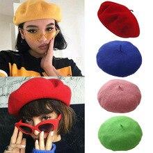 Women Autumn Winter Berets Hat Wool Vintage Berets Solid Col