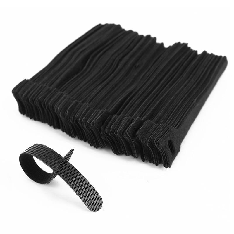 100 X Adjustable Black Nylon Reusable Cable Storing Cables  Tie L