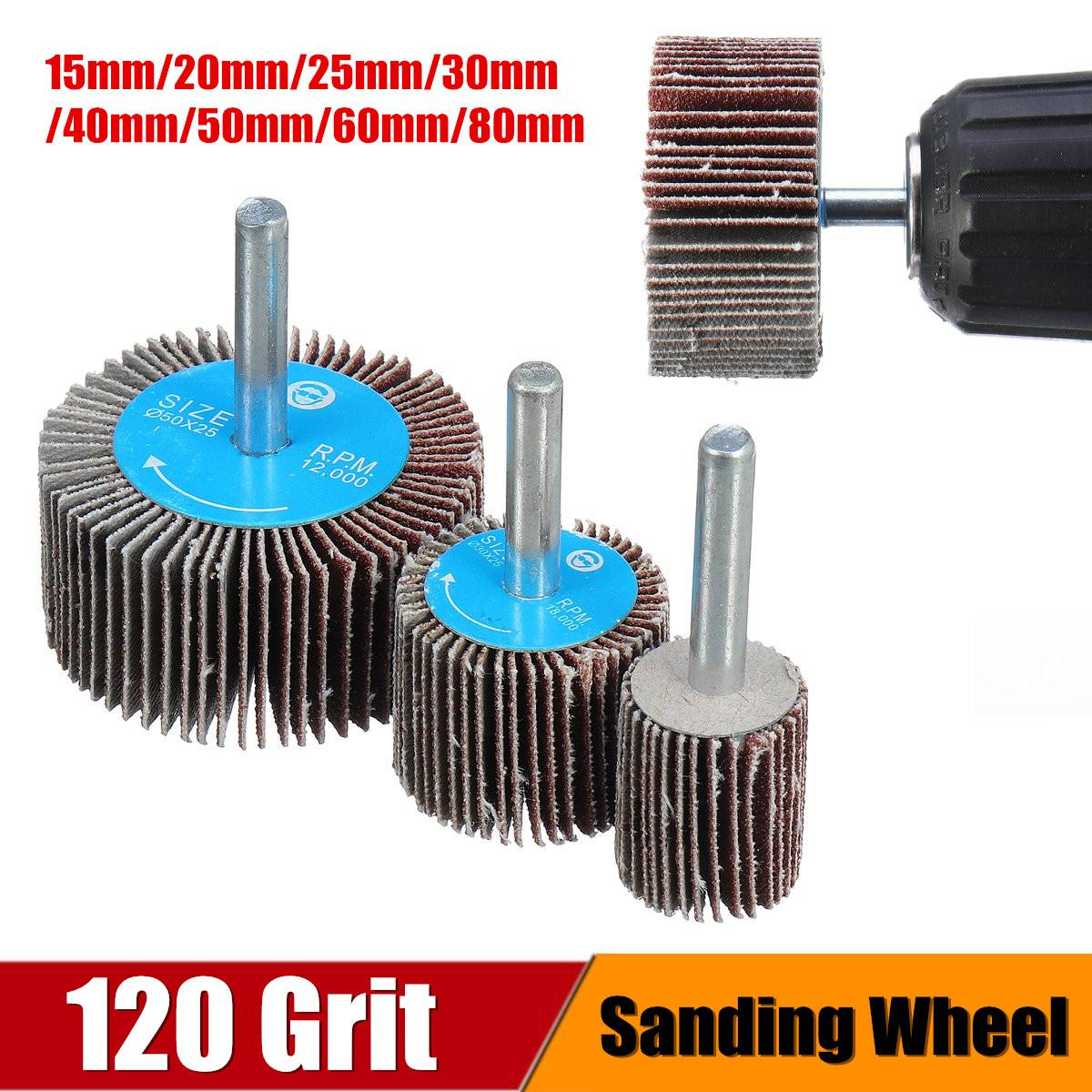 120 Grit Sanding Flap Wheel 15-80mm Sanding Flap Wheel Polishing Grinding Rotary Drill Tool Disc Grit Sandpaper Rotary Accessory