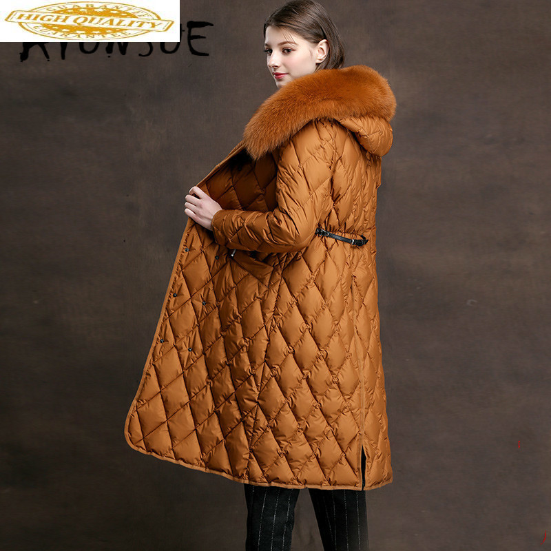 90% White Duck Down Jacket Women Fox Fur Collar Down Coat Winter Coat Women Warm Parka Casacos XMXD8758 YY1191