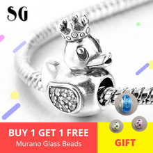 925 Sterling Silver Cute Duck with Crown Pendants Fit Authentic pandora Charm Bracelet Beads For Women DIY Jewelry Accessories