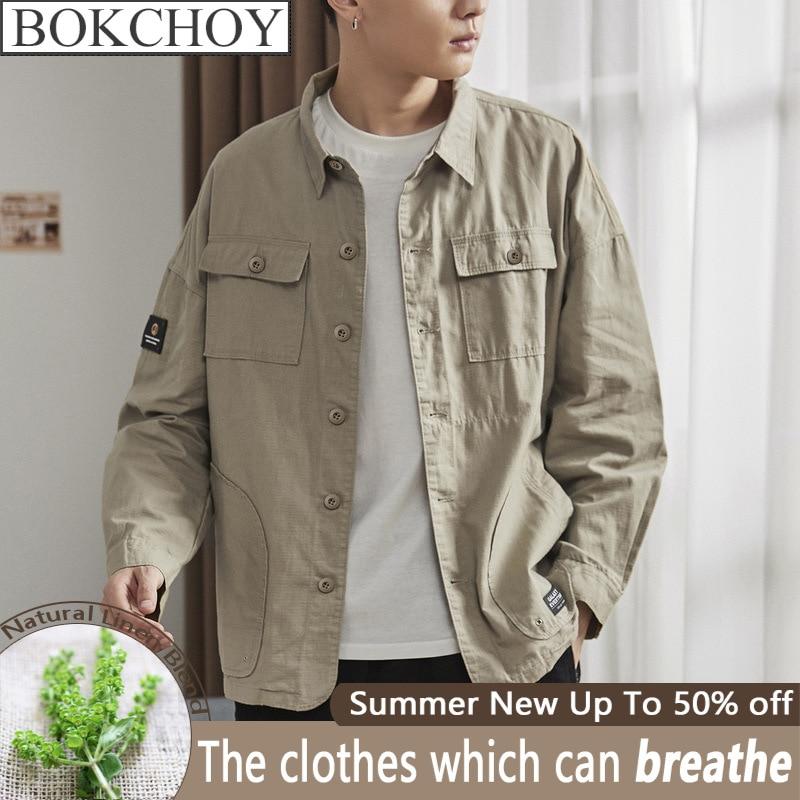 Vintage Men's Shirt Lapel Multi-pocket Work Shirt Youth Loose Cotton Men Shirt Long Sleeve  Safari Style Thin