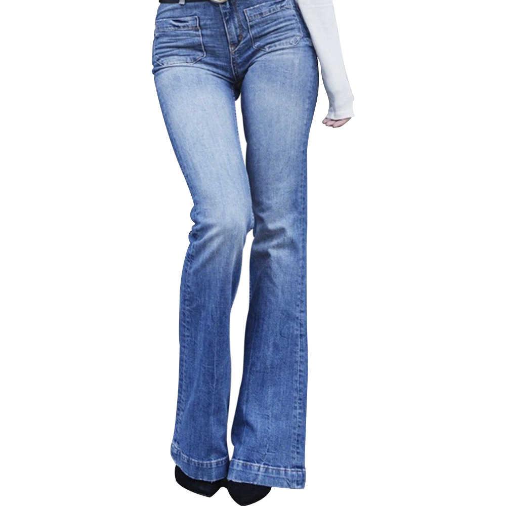 Jeansy rozkloszowane spodnie damskie nowe Casual Vintage Denim damskie wysokiej talii Stretch spodnie z kieszenią 2019 moda Plus rozmiar dżinsy z
