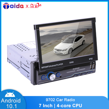 1Din Car Radio 7 Manual Retractable Bluetooth WIFI Internet MP5 Card Player GPS Navigation Android 10.1 Car Multimedia Player image
