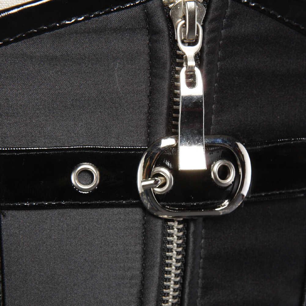 Seksi gotik Spiral çelik kemikli korse Burlesque Steampunk giyim fermuar kostüm Bustiers Shapewear siyah kırmızı