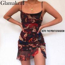 Glamaker Sexy mesh print short black dress Women pleated backless sleeveless beach dress Elegant party club vintage dress robe(China)