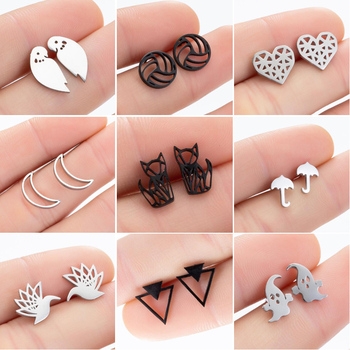 SMJEL Stainless Steel Geometric Earrings for Women Girls Minimalist Jewelry Heart Bird Ghost Umbrella Cat Volleyball Earing Stud abstract heart stud earrings stainless steel minimalist hollow heart stud earrings for women girls jewelry accessories gifts