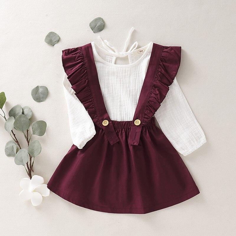1-6T automne bébé fille à manches longues coton T-shirt Blouse sangle jupes tenues décontractées ensemble