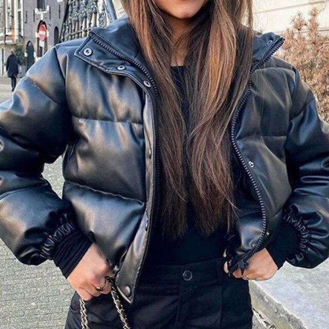 Winter Parka Coat Women's Jacket Thick Warm Women Fashion Black PU Leather Coats Women Elegant Zipper Faux Leather Jackets Tops 4