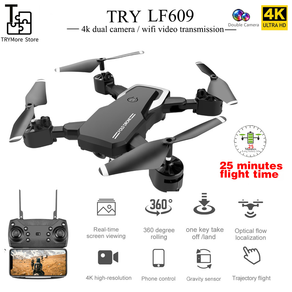 Dual Camera RC Drone Quadcopter S176 2.4Ghz WiFi FPV 4K UHD Camera Live Video Rometo Control Drone with Optical Flow Altitude Hold One Key Take Off//Land and Return Follow Me