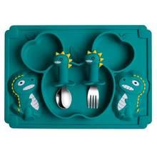 1 conjunto de utensílios de mesa de silicone do bebê placa prato de jantar do bebê garfo colher conjunto para jantar bebê casa