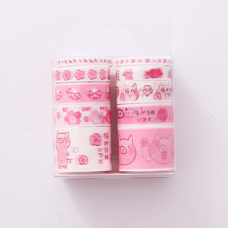 10 Pcs/box Pink Pig Washi Tape Set Decoration Sticker Scrapbooking Diary Adhesive Masking Tape Stationery School Supply