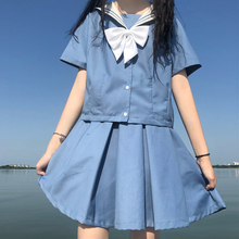 Academic Style JK Uniform Sailor Collar Short-Sleeved Top High Waist Pleated Skirt Cute Sailor Suit Blue Suit, Female Summer