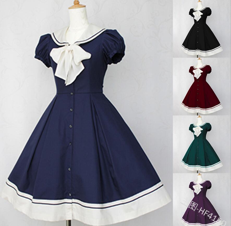 vintage sailor collar College style sweet lolita dress puff sleeve victorian dress kawaii girl gothic lolita op loli cosplay