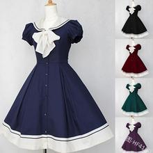 Marinero vintage collar estilo universitario adorable Vestido de lolita puff manga vestido victoriano chica kawaii gothic lolita op loli cosplay