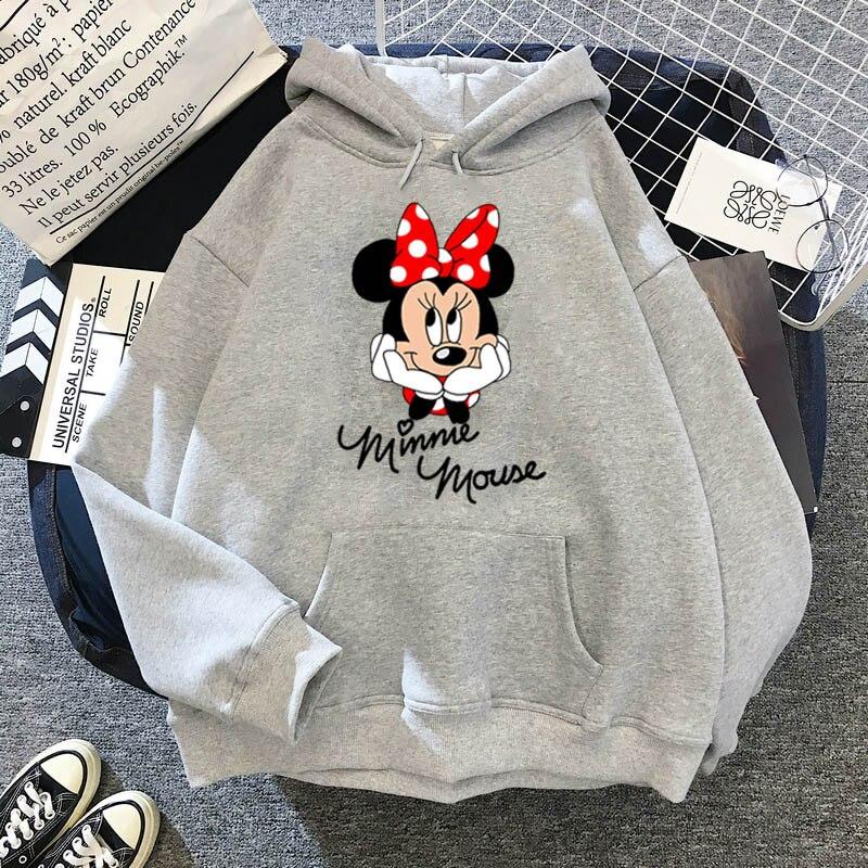 Disney Women Hoodies Minnie Mickey Mouse Hoodies Cartoon Tops Long Sleeve Pockets Sweatshirts Fashion Hooded Women 18