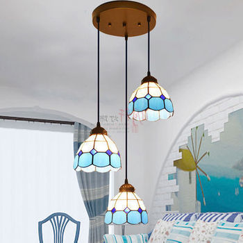 Tiffany Mediterranean Style Staircase Stained Glass Pendant Light Bar Restaurant Droplight Drop luminaria pendente