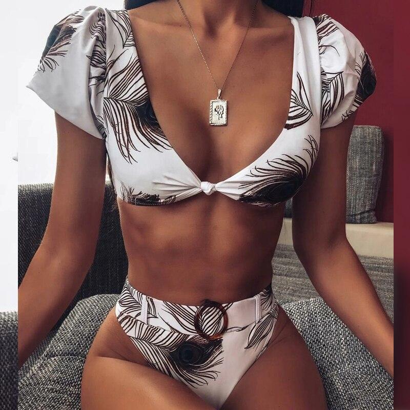 In-X Peacock print sexy bikini 2020 Short sleeve swimsuit female V neck swimwear women High waist bikini set Summer bathing suit