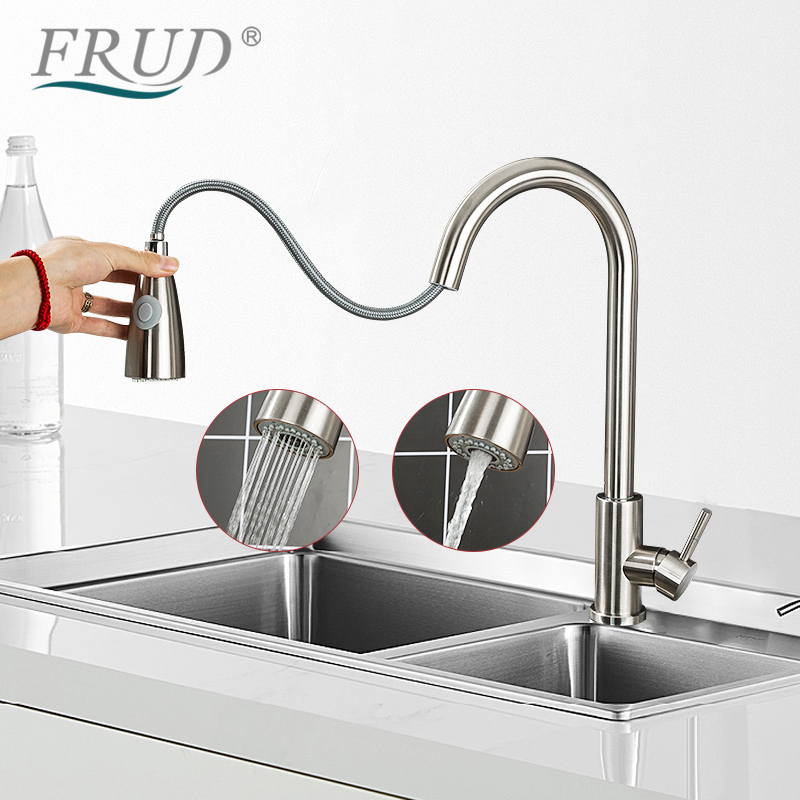 FRUD Kitchen Faucets 304 Stainless Steel Silver Single Handle Pull Out Kitchen Tap Single Hole Handle Swivel 360 Degree Water