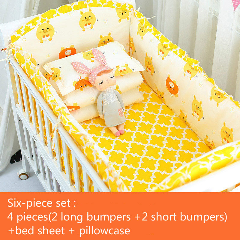 6pcs set Blue Universe Design Crib Bedding Set Cotton Toddler Baby Bed Linens Include Baby Cot Bumpers in Bumpers from Mother Kids