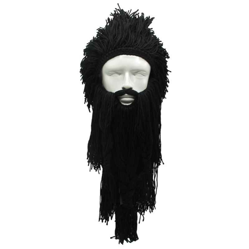 Mannen Vrouwen Barbarian Viking Handgemaakte Brei Pruik Hoed met Afneembare Lange Nep Baard Funny Crazy Halloween Cosplay Warm Beanie Cap