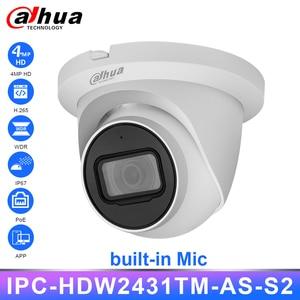 Dahua IPC-HDW2431TM-AS-S2 оригинальная HD 4MP IP камера безопасности PoE IR30m ночное видение H.265 IP67 WDR Mic DNR домашняя уличная веб-камера
