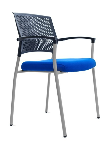 CHAIR CONFIDENT BACKING PLASTIC BLACK/BLUE UPHOLSTERY SEAT (PACK 2 UNITS)