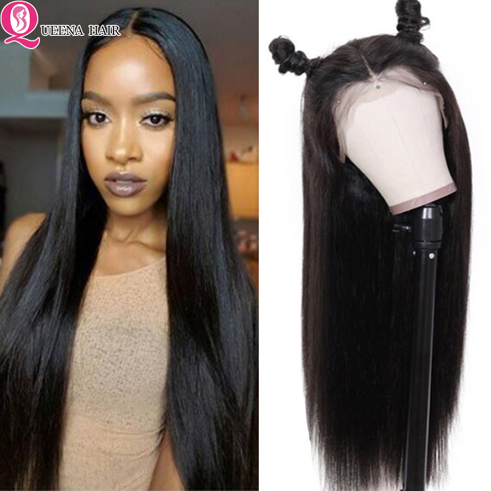 360 Front Lace Wig Brazilian Straight Lace Front Human Hair Wigs 13x6 Lace Frontal Wig Pre Plucked Natural Black Remy 150% Wigs