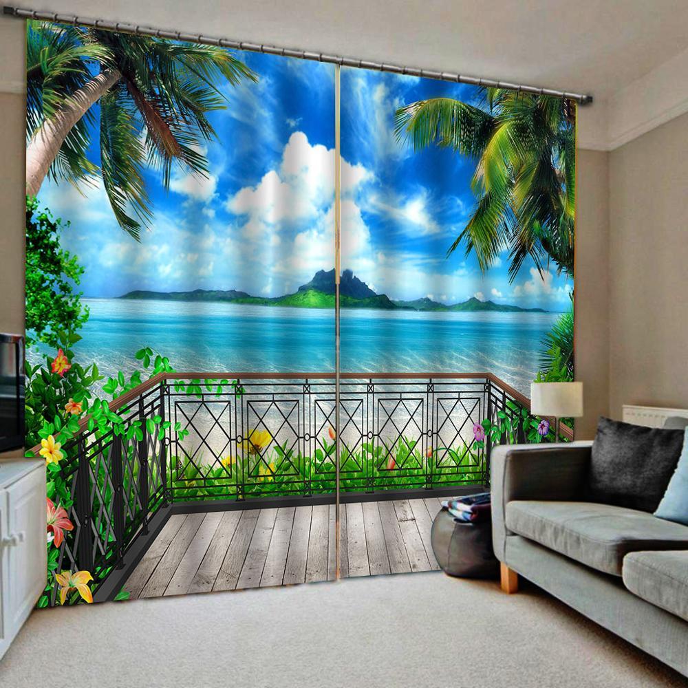 Blue beach curtains Balcony curtain 3D Blackout Curtains For Living room Bedding room Drapes Cotinas para sala  3d curtains